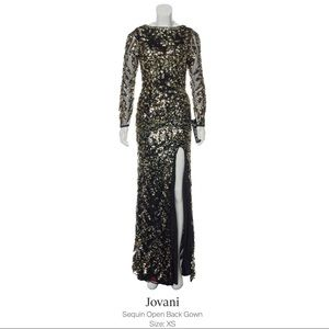 Jovani Sequin Open Back Gown